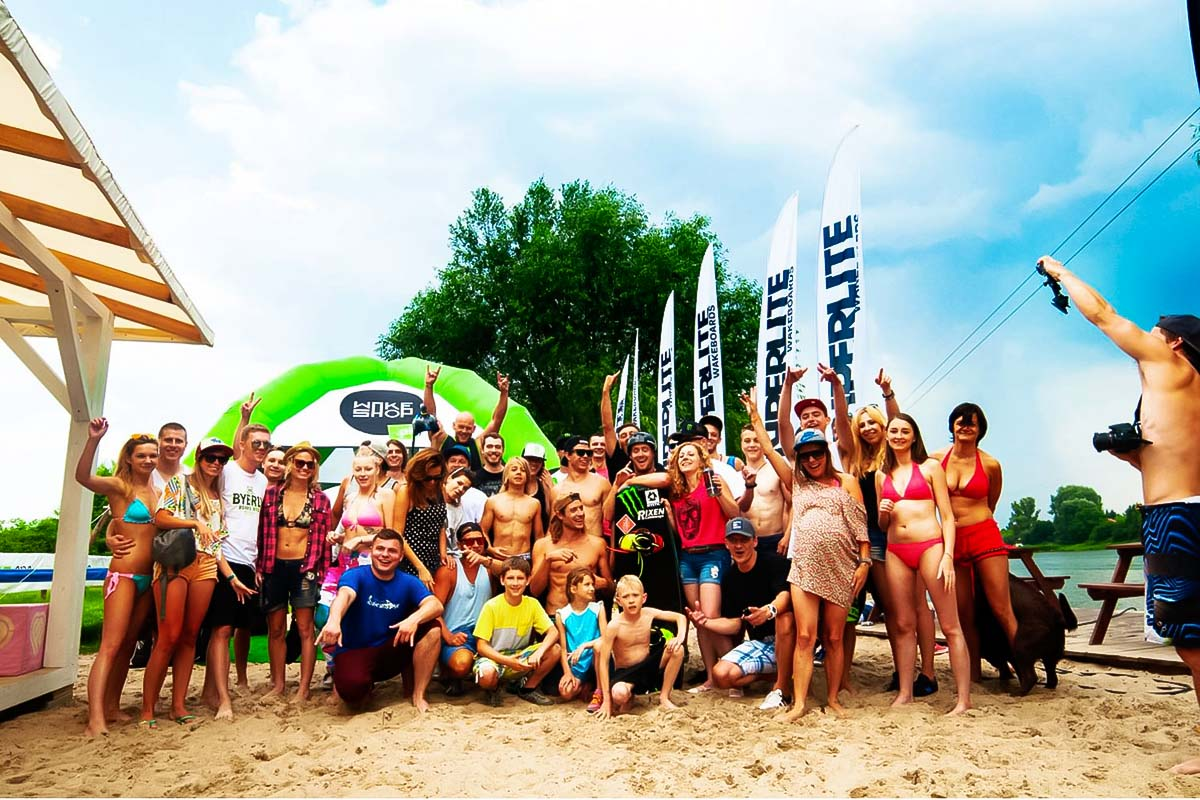 Group of people at the wakeboarding event in warsaw