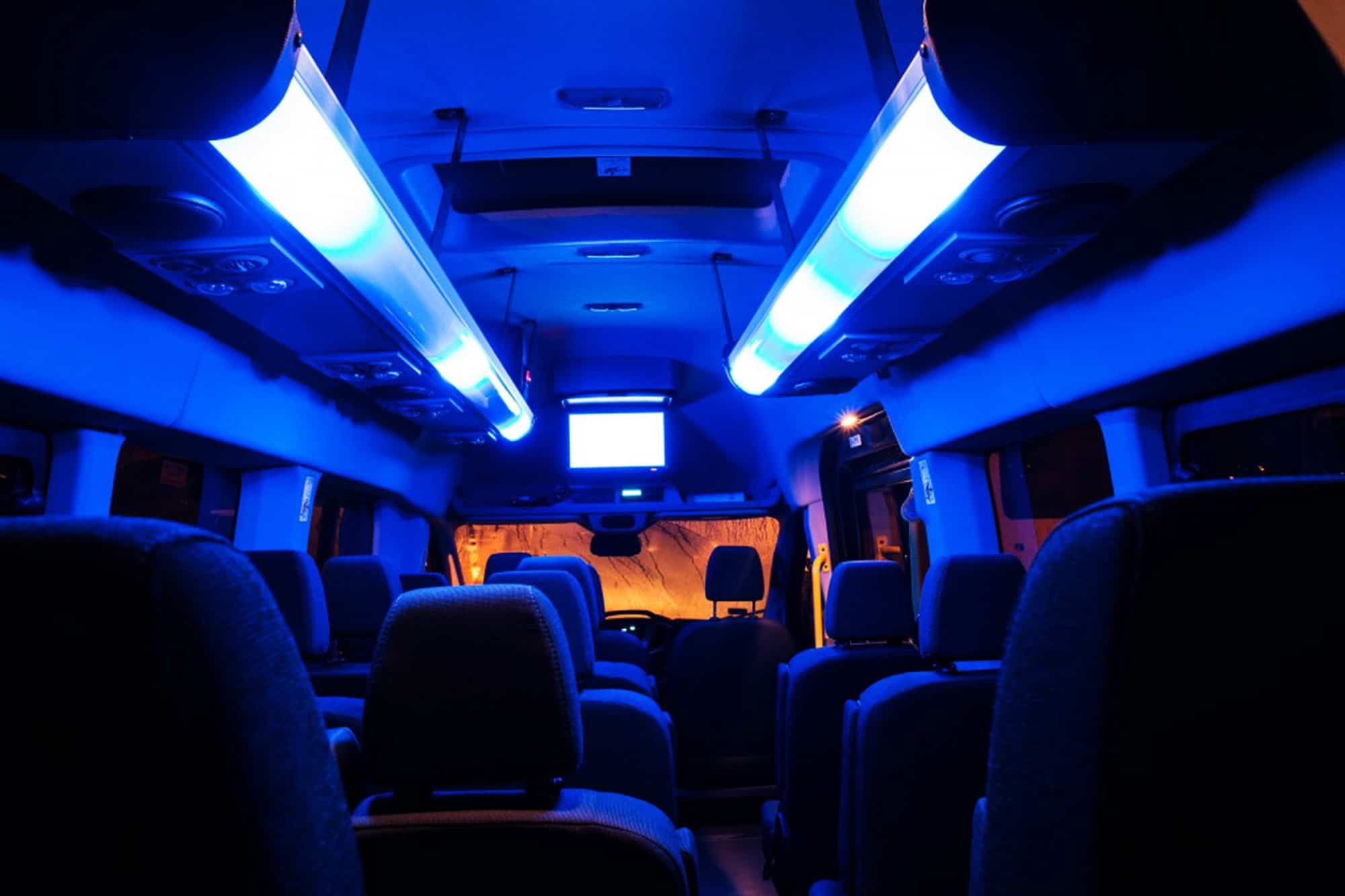 Inside of the mercedes sprinter transfer to chopin airport