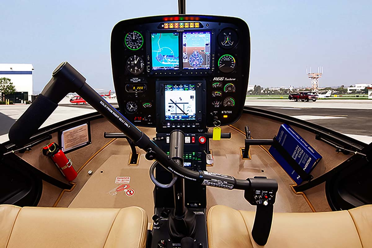 The pilot steering wheel in the helicopter in warsaw when you rent it