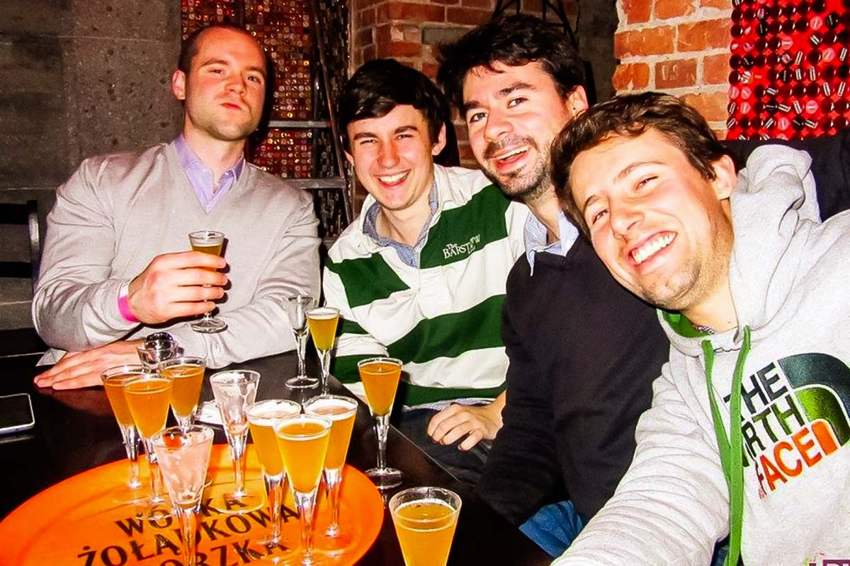 Bachelor party group on a beer tasting in Gdansk