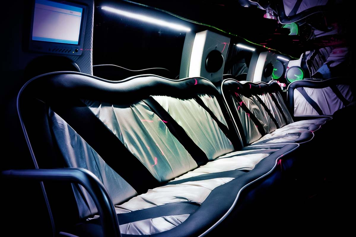 Comfortable seats in our premium limo for the airport transfer gdansk