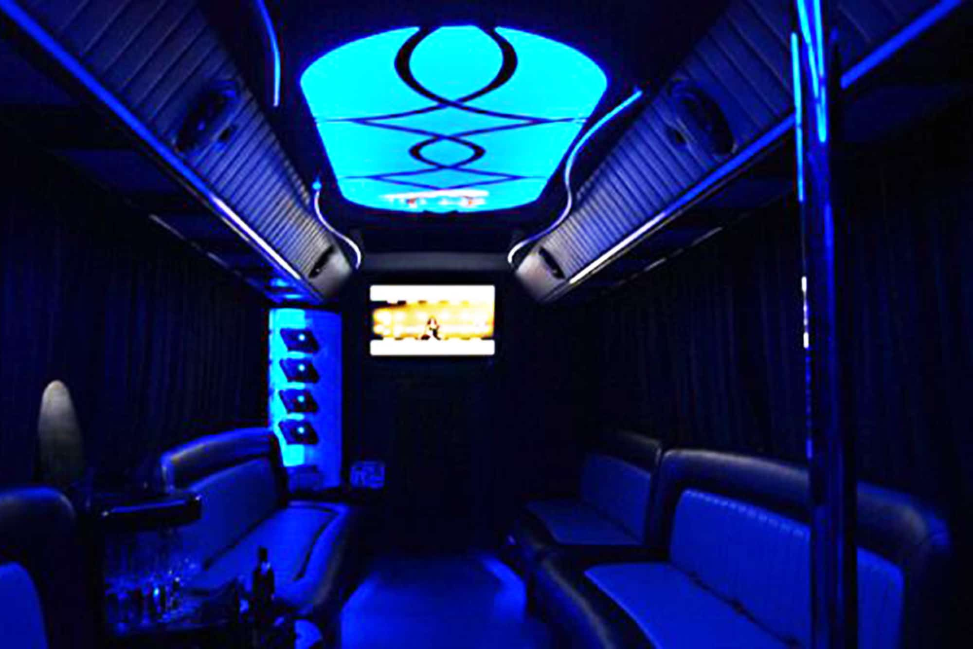 Dark lights in our cool private party bus krakow vehicle
