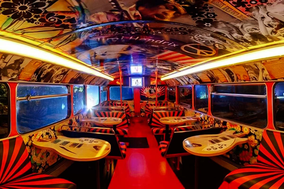 Interiors of our double decker bus party in Warsaw