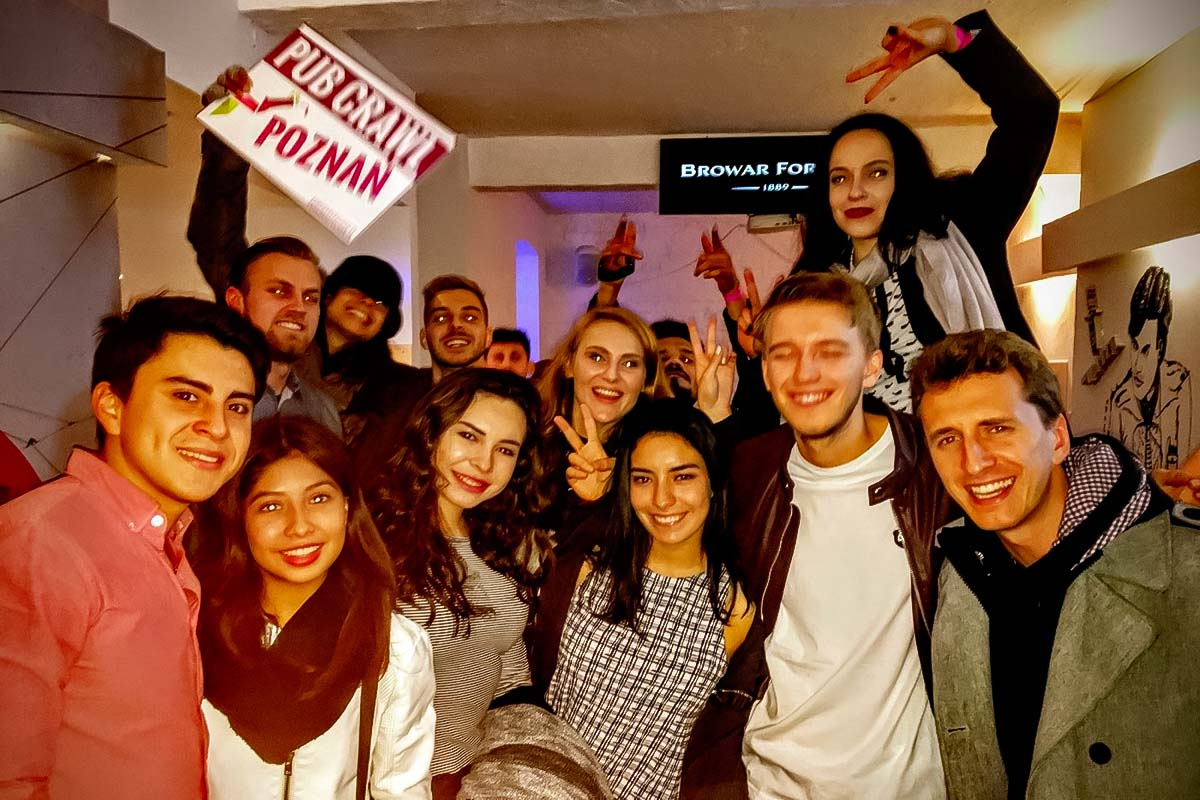 People having fun at the Poznan Pub Crawl