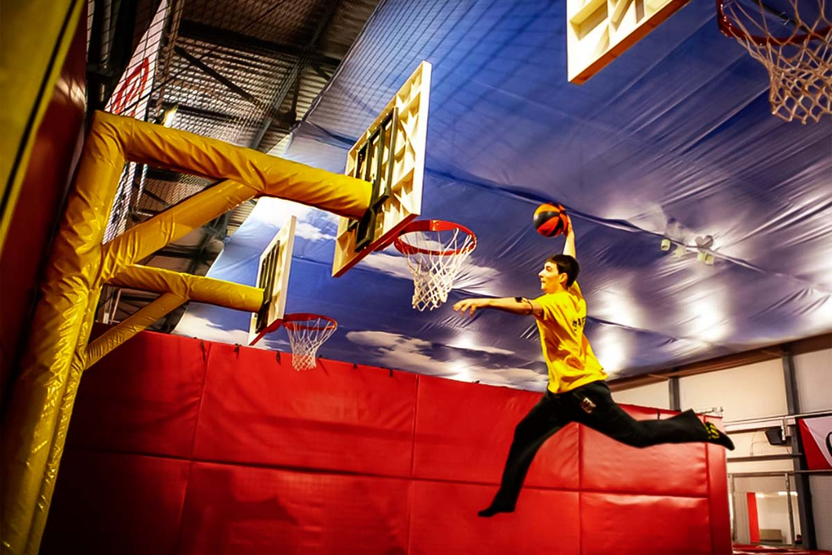 You can feel like Kobe Bryant jumping up and putting the ball in the basket at the trampoline park