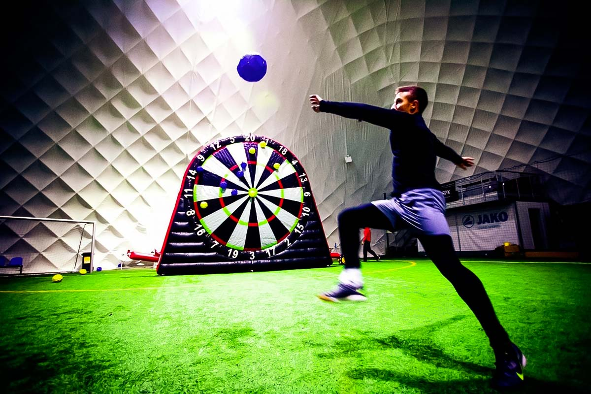 Cool moment before kicking a ball in football darts
