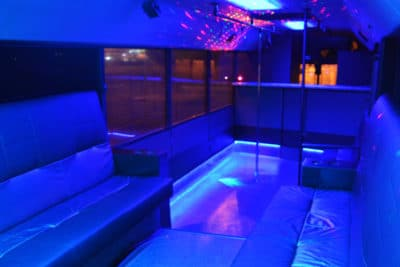 interior of the party bus in wroclaw