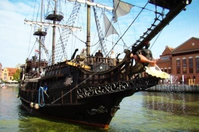 Lunch on a pirate ship in gdansk restaurant on the water going on a cruise to westerplatte