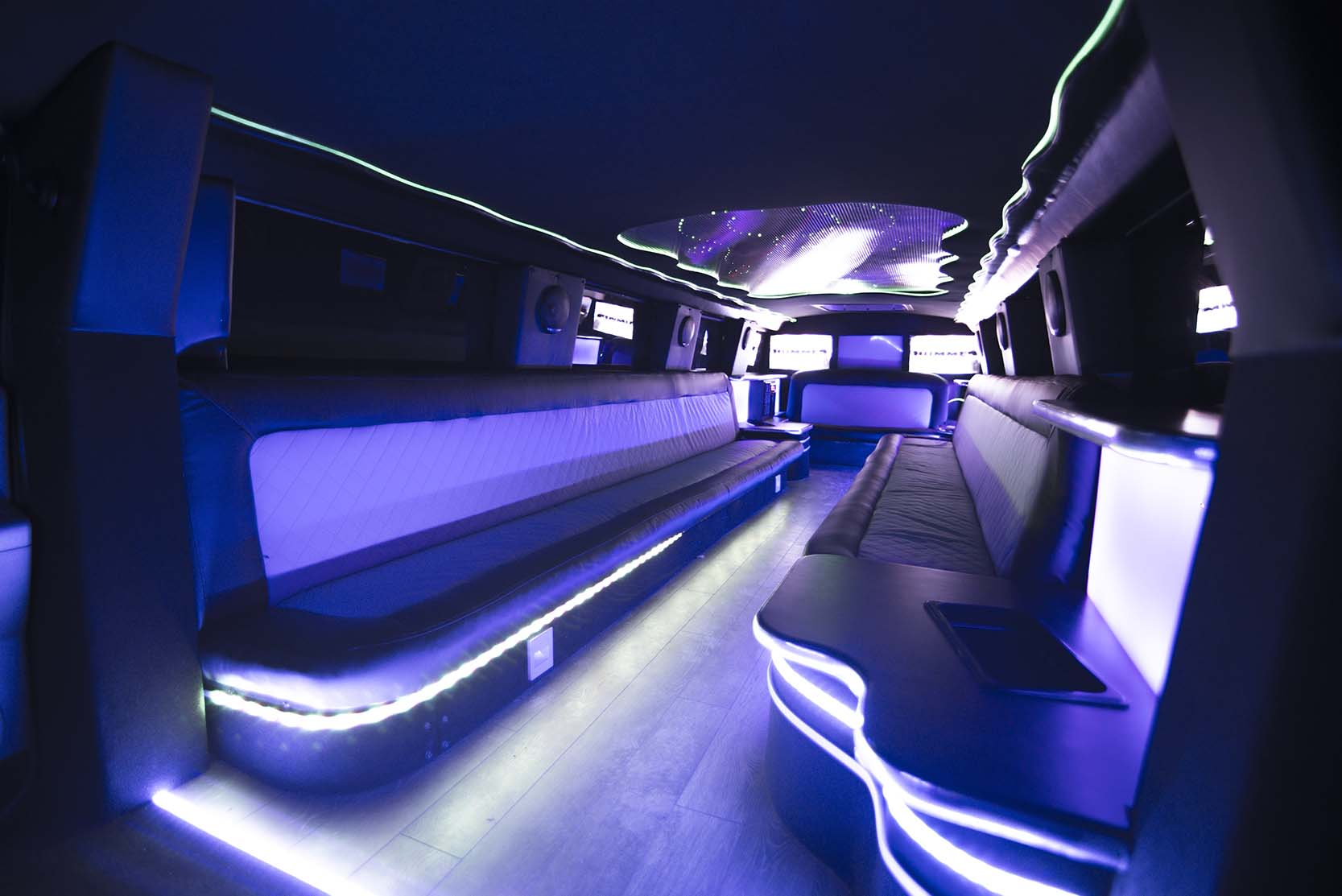 interior of hummer limo rental wroclaw